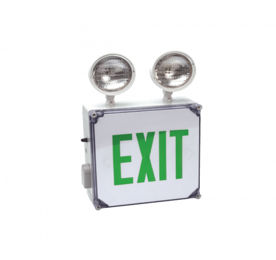 XEM7WL Wet Location LED Exit Sign & Incandescent Combo